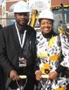 Local 79 LIUNA Executive Board Member Anthony Williamson (left) and Brooklyn City Council Member Darlene Mealy observe construction work following groundbreaking of Atlantic Yards