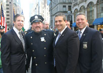 PBA President Pat Lynch (left), and PBA representatives marching in the parade