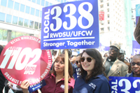Supporters from Local 338 RWDSU in front of City Hall
