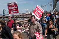 Union Members crossing Brooklyn Bridge
