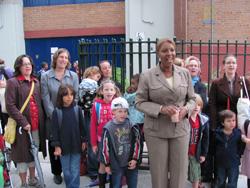 Council Member Letitia James, students and parents