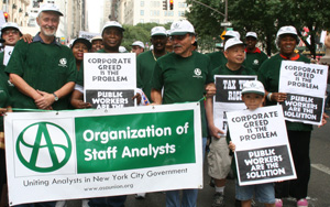 OSA President, Robert Croghan (left) with union members