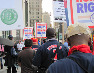 TWU members march to Zuccotti Park