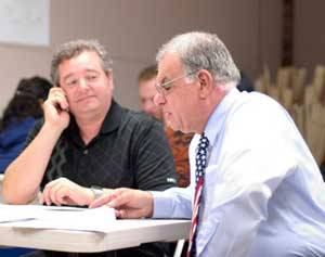 Volunteers work the phones at the Ryan campaign headquarters