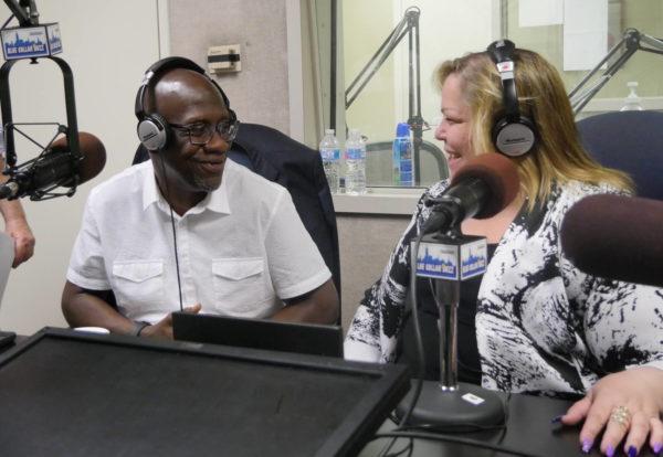 Elias Husamudeen and Kim Medina in the Blue Collar Buzz studio.